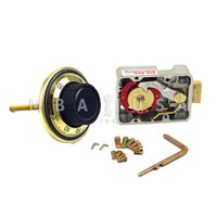 "3-WHEEL LOCK, DIAL & RING, FRONT READING, POLISHED BRASS, 3.5"" DOOR THICKNESS"