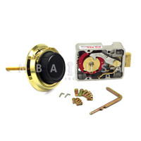 "3-WHEEL LOCK, DIAL & RING, SPY GUARD, POLISHED BRASS, 3.5"" DOOR THICKNESS"