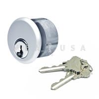 """Mortise Key Cylinder - 1"""" Schlage C, Keyed Different, Aluminum Finish"""