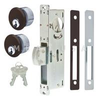 "Dead Bolt Lock 1-1/8"" Backset, 2 Mortise Key Cylinders - 1"" Schlage C (Dark Bronze) and 2 Faceplates"