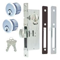 "Hook Bolt Lock 1-1/8"" Backset, 2 Mortise Key Cylinders - 1"" Schlage C (Aluminum) and 2 Faceplates"