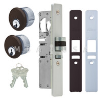 "Latch Bolt Lock 1-1/8"" Backset (Right Hand), 2 Mortise Key Cylinders - 1"" Schlage C (Dark Bronze) and 2 Faceplates"