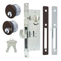 """Hook Bolt Lock 1-1/8"""" Backset, 2 Mortise Key Cylinders - 1"""" Schlage C (Dark Bronze) and 2 Faceplates"""