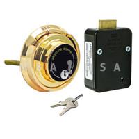 4-Wheel Lock Package w/ Spy Proof Dial & Ring, Key Locking, Brass