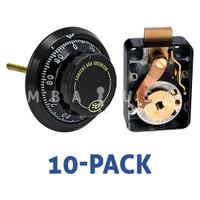10-PACK: 3-Wheel Lock, Front Reading Dial & Ring, Black & White