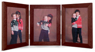 Triple Hinge Vertical (Portrait) Picture Frame - Walnut Finish