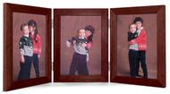 Triple Hinge Vertical (Portrait) Picture Frame - Walnut Finish