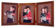 Triple Hinge Portrait Picture Frame - Cherry Finish