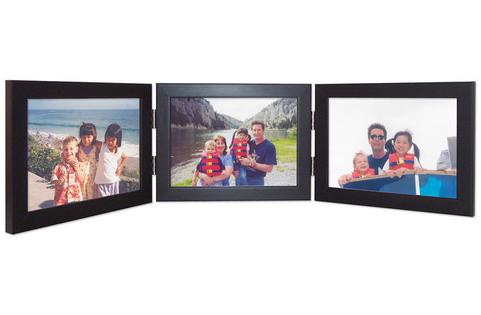 Triple Hinged Horizontal Wood Picture Frame, Landscape orientation, black finish with silver hinges.
