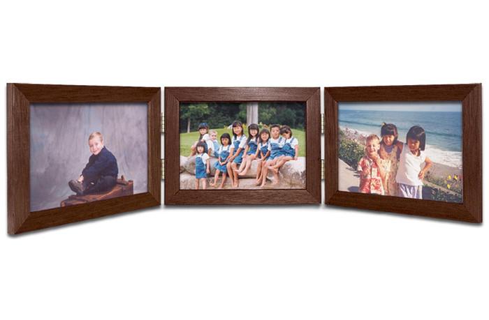 Triple Hinge Horizontal (Landscape) Picture Frame - Walnut Finish