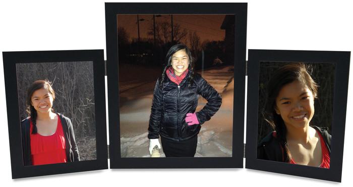 Triple Hinge Vertical (Portrait) Picture Frame, 2 frame sizes - Black Finish