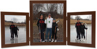 Triple Hinge Vertical (Portrait) Picture Frame, 2 frame sizes - Walnut Finish