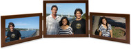 Triple Hinge Horizontal (Landscape) Picture Frame, 2 frame sizes - Walnut Finish