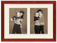SlimLine Collage Portrait Wall Wood Frame with Cherry Finish, 2-openings