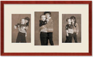 SlimLine Collage Portrait Wall Wood Frame with Cherry Finish, 3-Multi size openings