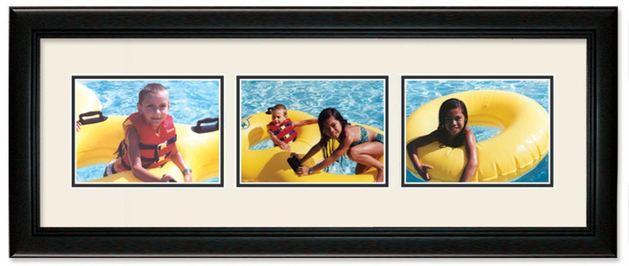 Deluxe Black Landscape collage frame, 3-openings with off white double mat