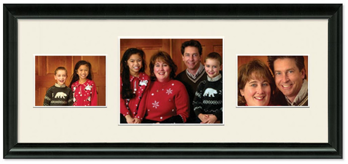 Traditional Black Collage frame, 3-openings, 2 sizes with off white mat