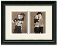 Traditional Black Portrait Collage Wall Frame, Double Mat, 2-Openings