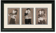 Traditional Black collage frame 3-openings double off white mat