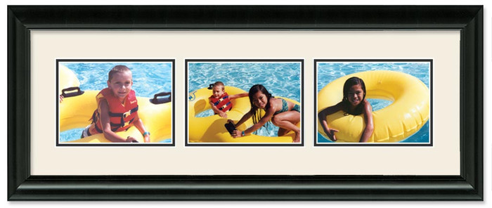 Traditional Black Landscape collage frame, 3-openings with off white double mat