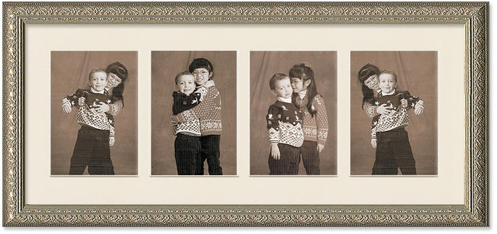 Imperial Silver Collage frame, 4-openings with off white mat
