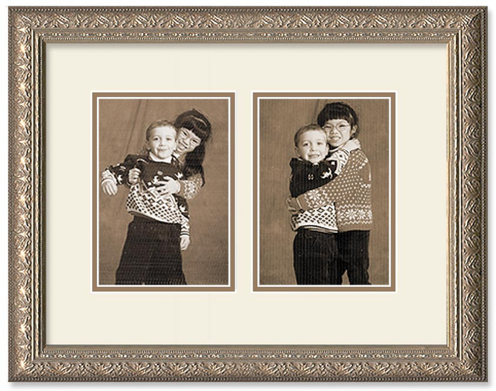 Imperial Silver collage frame with 2-openings and off white double mat