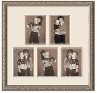 Imperial Silver Portrait Collage Wall Frame, Double Mat, 5- Openings