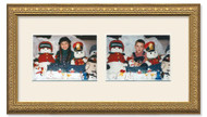Imperial Gold collage frame with 2-horizontal openings and off white mat