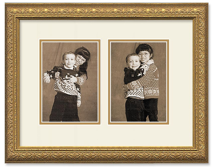 Gold ornate collage frame with 2-openings and double off white mat