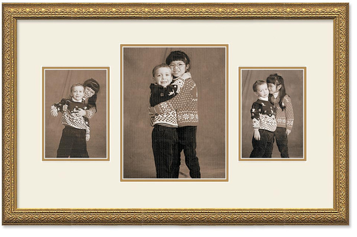 Imperial Gold Collage frame, 3-openings, 2 sizes with off white double mat