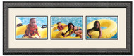 Imperial Black Landscape collage frame, 3-openings with off white double mat