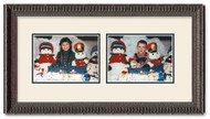 Ornate Black landscape 2-opening collage frame with off white double mat