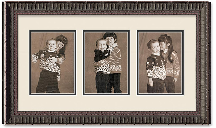Ornate Black collage frame 3-openings with double off white mat