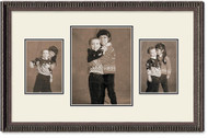 Ornate Black Collage frame, 3-openings, 2 sizes with off white double mat