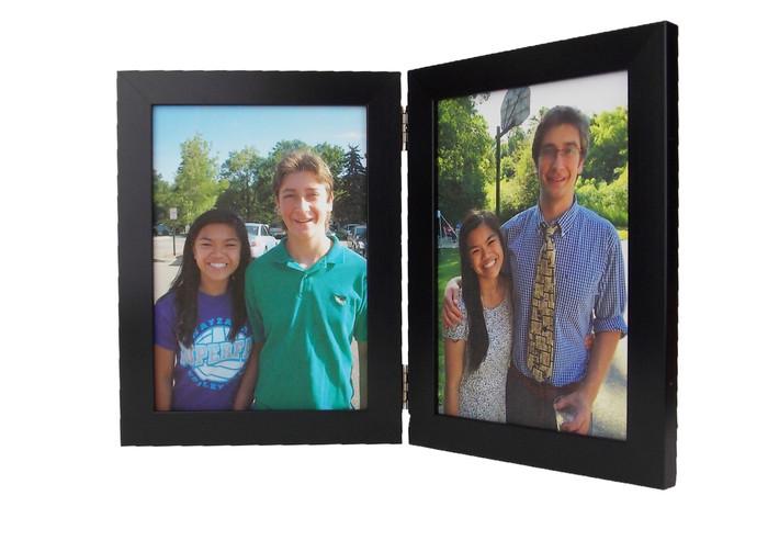 Black Vertical (Portrait) Double Hinge Picture Frame - Size 3.5x5