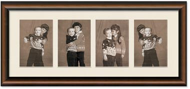 2-Toned Walnut frame for 3.5x5 pictures, Off White Mat