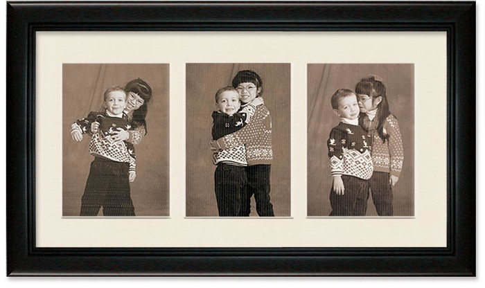 Deluxe Black Collage Frame with 3-openings for 4x5 pictures, Off White Mat