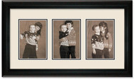 Deluxe Black Collage Picture Frame with 3-4x5 openings , Off White Mat