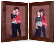 Walnut Finish 4x5 Vertical (Portrait) Double Hinge Picture Frame