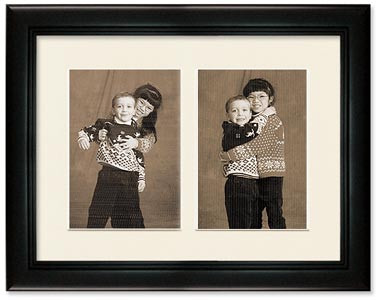2-Opening 5x5 Deluxe Black Collage Frame, Off White Mat (5x7 display image)