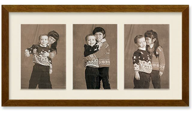 4x6 Walnut Finish Collage Portrait Wall Wood Frame with 3-openings, Off White Mat