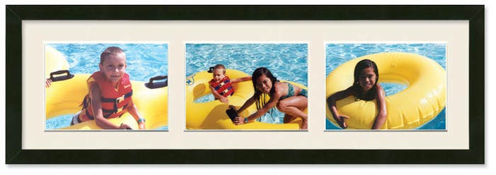 4x6 Black Collage Landscape Wood Frame with 3-openings (Off White Mat)