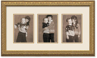 Imperial Gold Portrait Collage Frame, Double Mat, 3- Openings for 5x7 Pictures (Off White Mat)