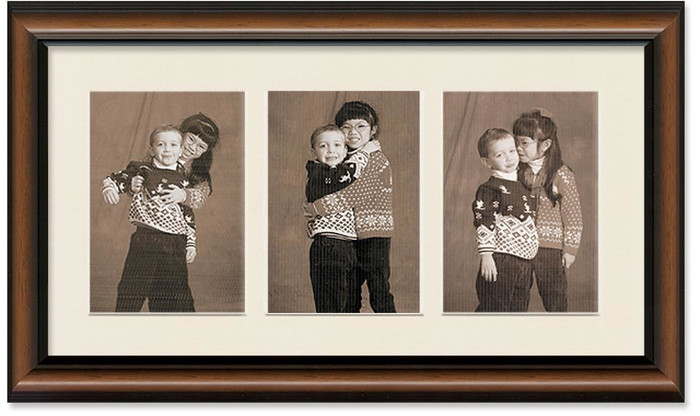 Two-Toned Walnut Portrait Collage Frame, Single Mat, 3-Openings for 5x7 Pictures (Off White Mat)