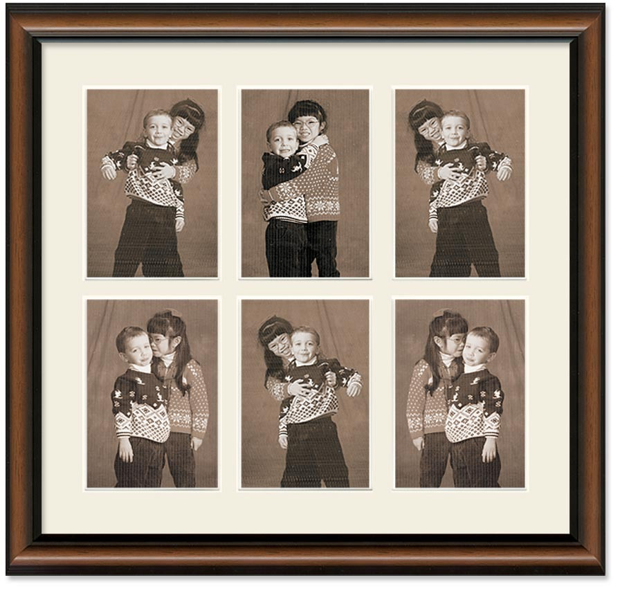 Two Toned Walnut Finish Portrait Collage Wall Frame 6 Openings For