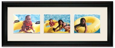 Deluxe Black Landscape Collage Wall Frame, 3- Openings for 8x6 Pictures, Off White Mat