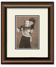 2-Toned Walnut Wall Frame for 6x8 Pictures - Double Mat (Off White Mat)
