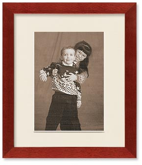 Cherry Finish Wall Wood Frame, Single Mat for 6x8 Picture, Off White Mat