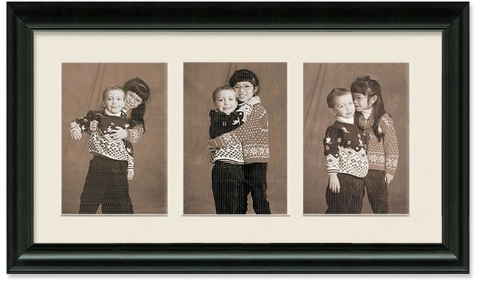 Traditional Black Portrait Collage Wall Frame, 3- Openings for 8x10 Pictures, Off White Mat