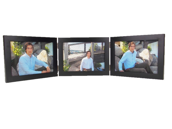 Black Finish 5x3.5 Triple Hinge Landscape Picture Frame
